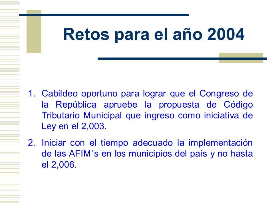 Retos para el año 2004 1.Cabildeo oportuno para lograr que el Congreso de la República apruebe la propuesta de Código Tributario Municipal que ingreso