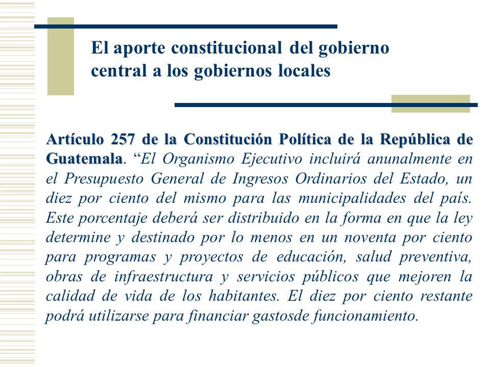 El aporte constitucional del gobierno central a los gobiernos locales Artículo 257 de la Constitución Política de la República de Guatemala Artículo 2