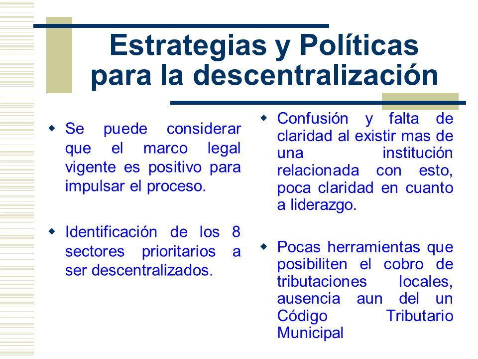 Estrategias y Políticas para la descentralización Se puede considerar que el marco legal vigente es positivo para impulsar el proceso. Identificación