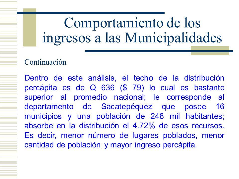 Comportamiento de los ingresos a las Municipalidades Dentro de este análisis, el techo de la distribución percápita es de Q 636 ($ 79) lo cual es bast