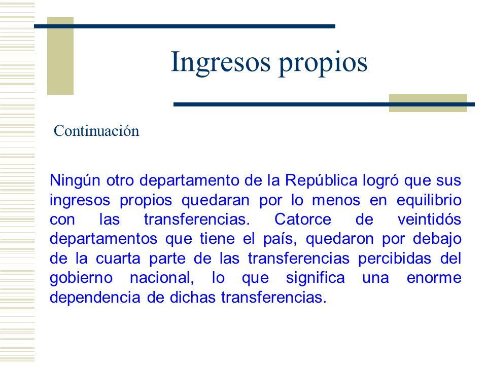 Ingresos propios Ningún otro departamento de la República logró que sus ingresos propios quedaran por lo menos en equilibrio con las transferencias. C