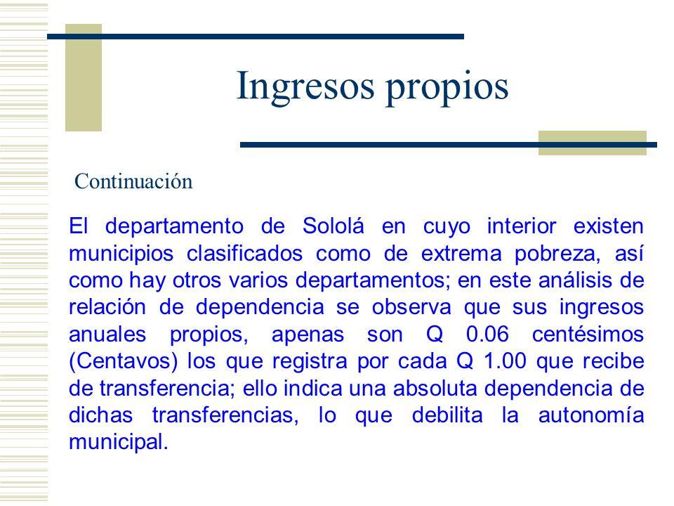 Ingresos propios El departamento de Sololá en cuyo interior existen municipios clasificados como de extrema pobreza, así como hay otros varios departa