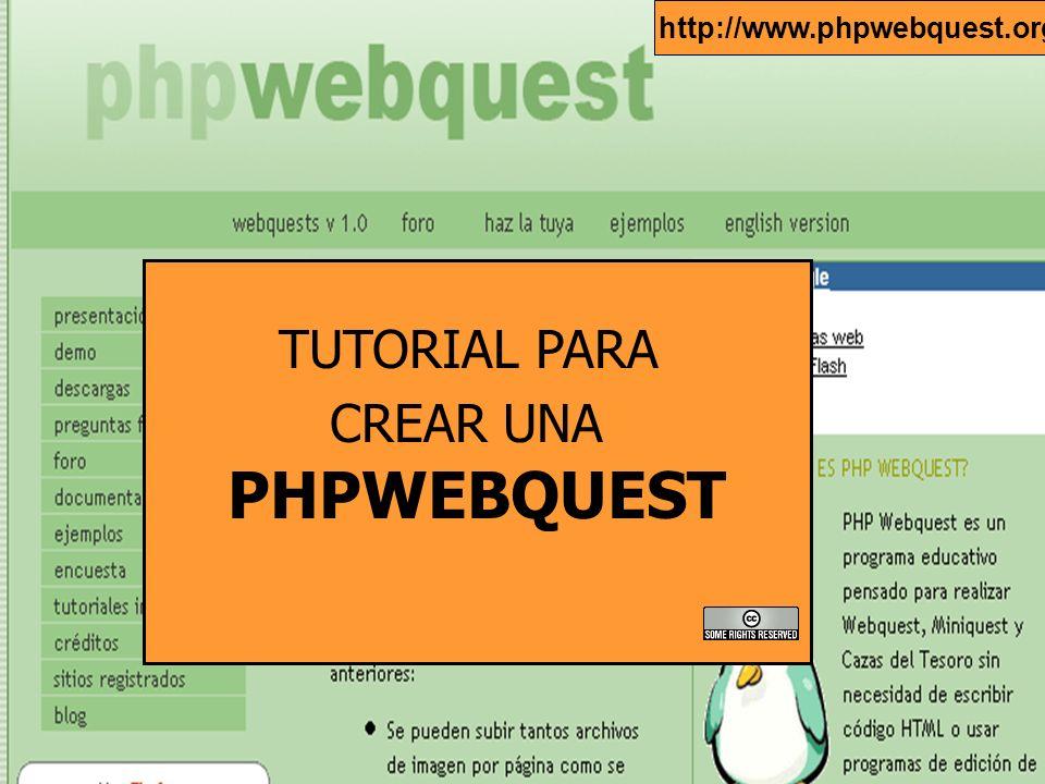 Antes de comenzar a crear una webquest, deberás solicitar una cuenta de usuario en la siguiente dirección: http://www.phpwebquest.org/wq25/ Antes de comenzar a crear una webquest, debes solicitar una cuenta de usuario en la siguiente dirección: http://www.phpwebquest.org/wq25/