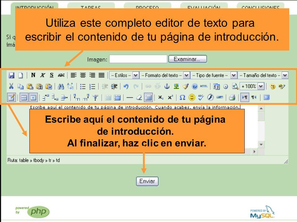 Utiliza este completo editor de texto para escribir el contenido de tu página de introducción. Escribe aquí el contenido de tu página de introducción.