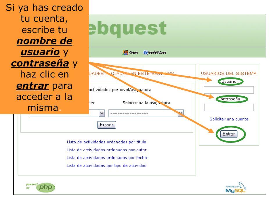 Una vez dentro, encontraremos distintas opciones.Haz click en la segunda: CREAR UNA WEBQUEST.