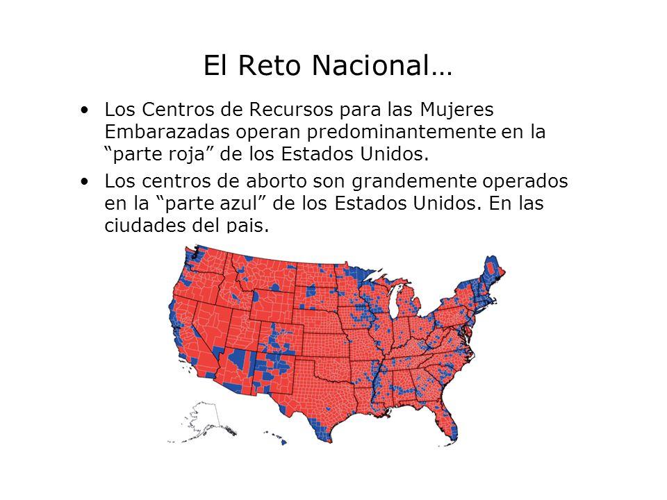 El Reto Nacional… Los Centros de Recursos para las Mujeres Embarazadas operan predominantemente en la parte roja de los Estados Unidos. Los centros de