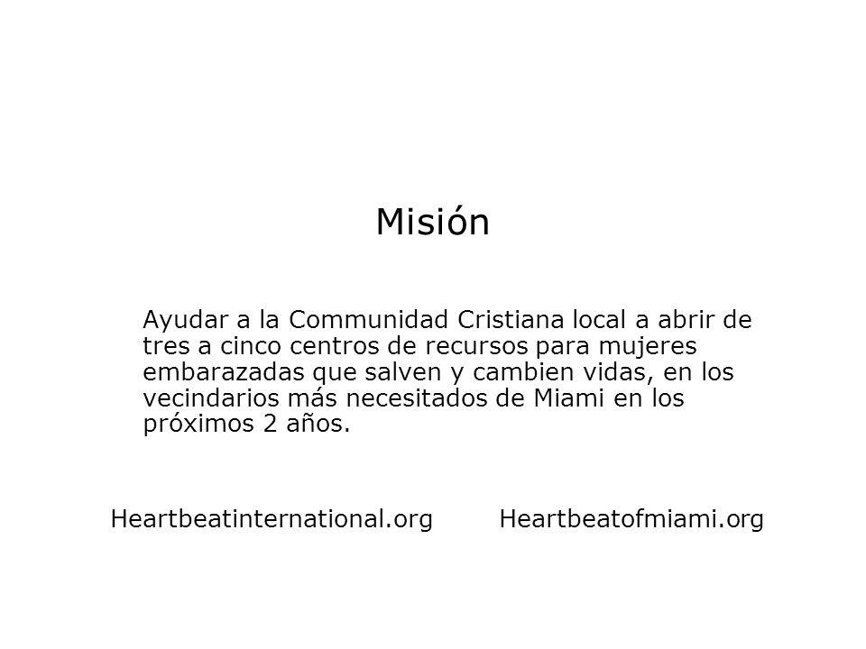 Misión Ayudar a la Communidad Cristiana local a abrir de tres a cinco centros de recursos para mujeres embarazadas que salven y cambien vidas, en los