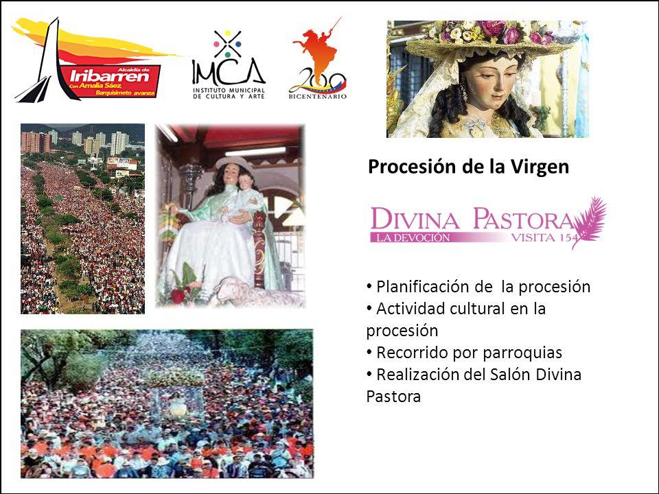 Planificación de la procesión Actividad cultural en la procesión Recorrido por parroquias Realización del Salón Divina Pastora Procesión de la Virgen