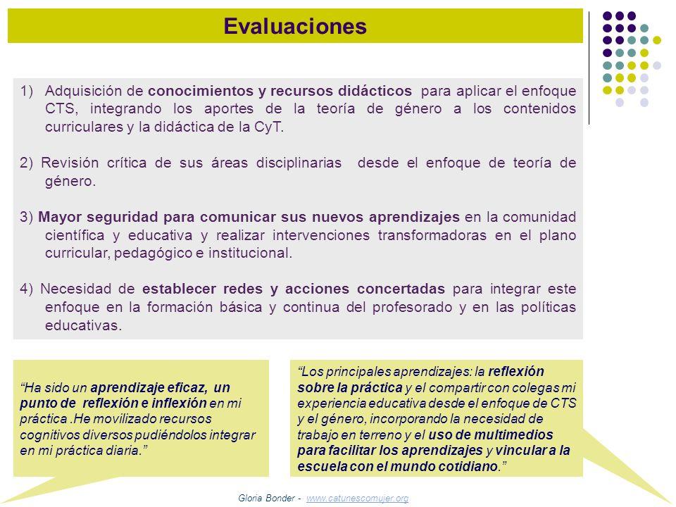 Evaluaciones 1)Adquisición de conocimientos y recursos didácticos para aplicar el enfoque CTS, integrando los aportes de la teoría de género a los con