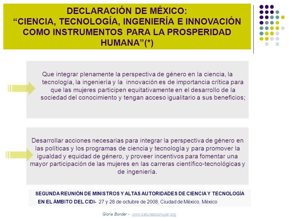 DECLARACIÓN DE MÉXICO: CIENCIA, TECNOLOGÍA, INGENIERÍA E INNOVACIÓN COMO INSTRUMENTOS PARA LA PROSPERIDAD HUMANA(*) Que integrar plenamente la perspec