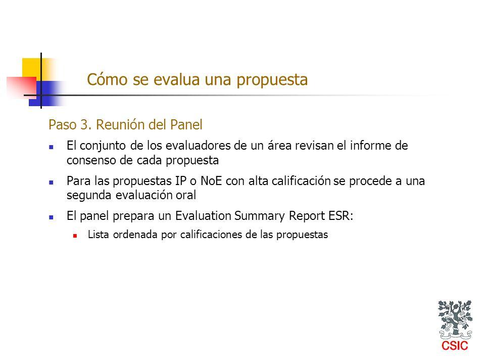 Paso 3. Reunión del Panel El conjunto de los evaluadores de un área revisan el informe de consenso de cada propuesta Para las propuestas IP o NoE con