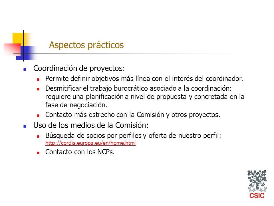 Coordinación de proyectos: Permite definir objetivos más línea con el interés del coordinador. Desmitificar el trabajo burocrático asociado a la coord