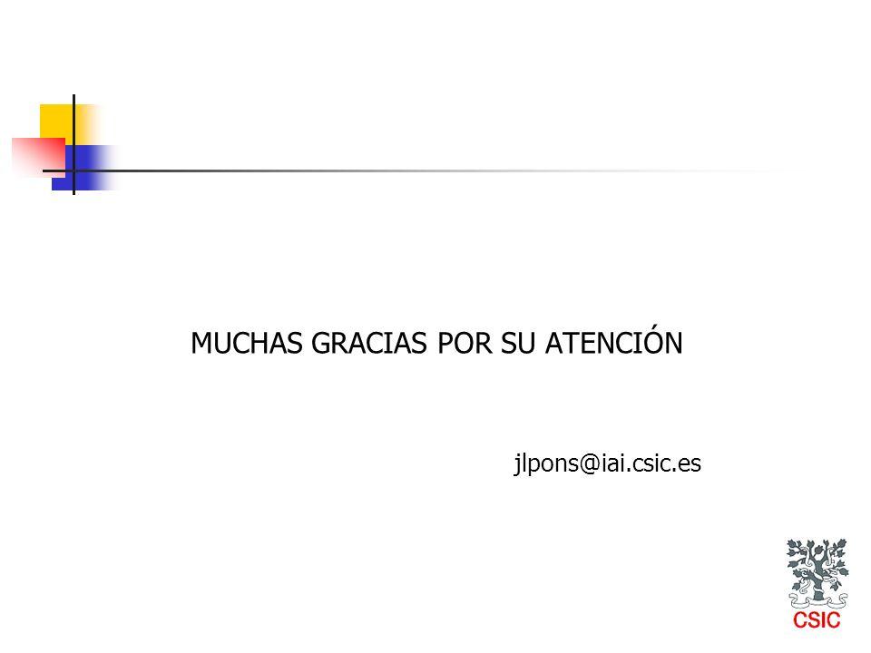 MUCHAS GRACIAS POR SU ATENCIÓN jlpons@iai.csic.es