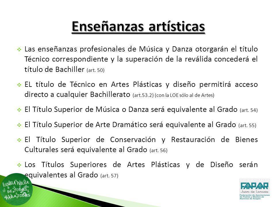 Las enseñanzas profesionales de Música y Danza otorgarán el título Técnico correspondiente y la superación de la reválida concederá el título de Bachi