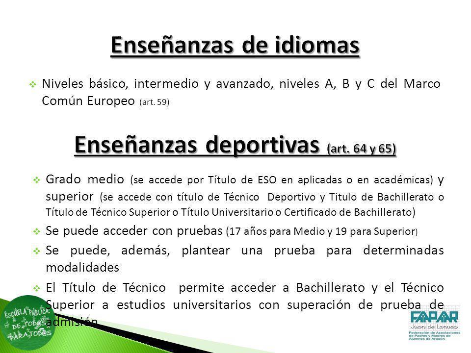 Niveles básico, intermedio y avanzado, niveles A, B y C del Marco Común Europeo (art. 59) Grado medio (se accede por Título de ESO en aplicadas o en a
