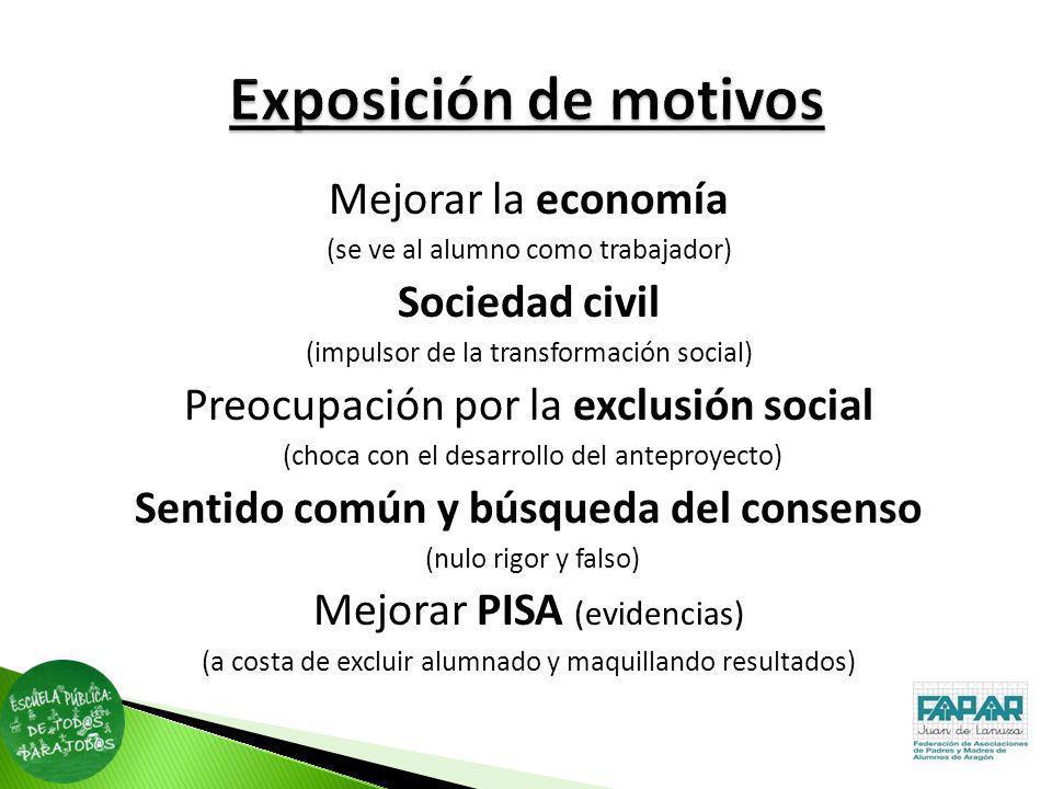 Mejorar la economía (se ve al alumno como trabajador) Sociedad civil (impulsor de la transformación social) Preocupación por la exclusión social (choc