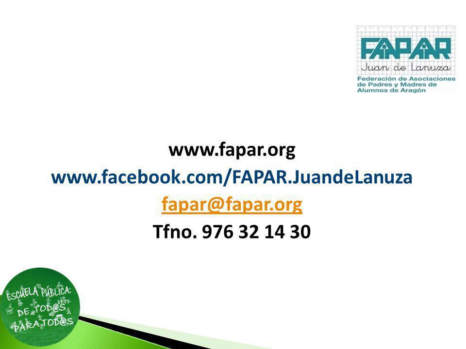 www.fapar.org www.facebook.com/FAPAR.JuandeLanuza fapar@fapar.org Tfno. 976 32 14 30