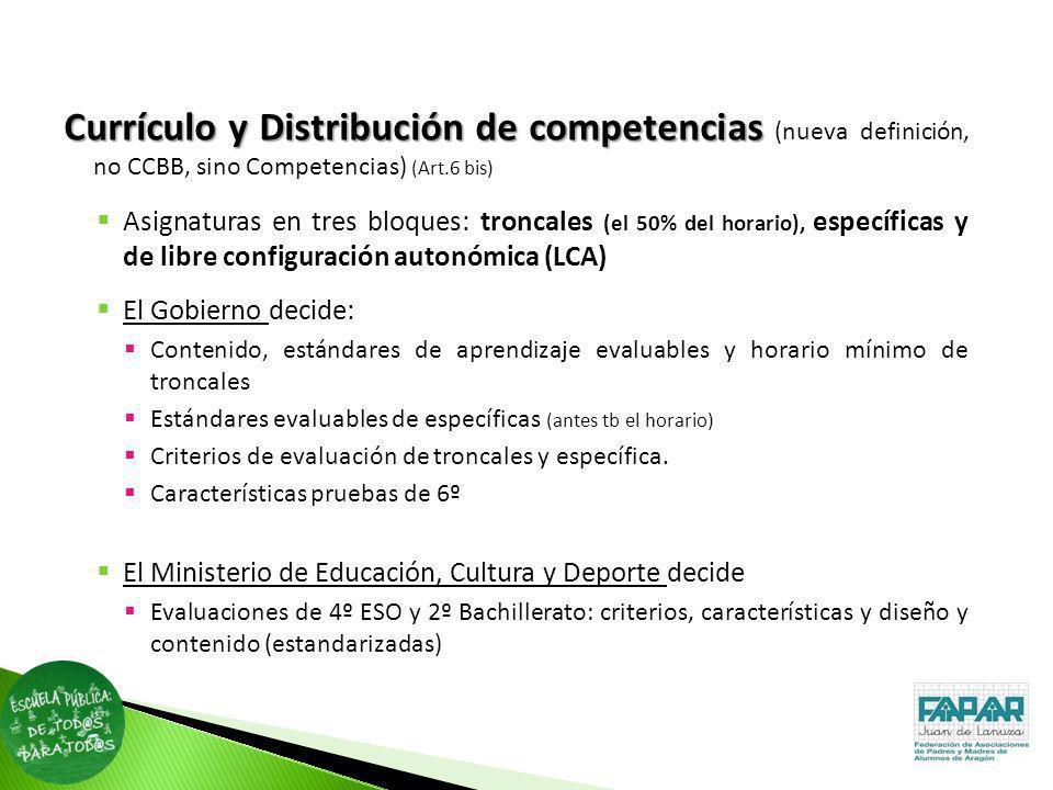 Currículoy Distribución de competencias Currículo y Distribución de competencias (nueva definición, no CCBB, sino Competencias) (Art.6 bis) Asignatura