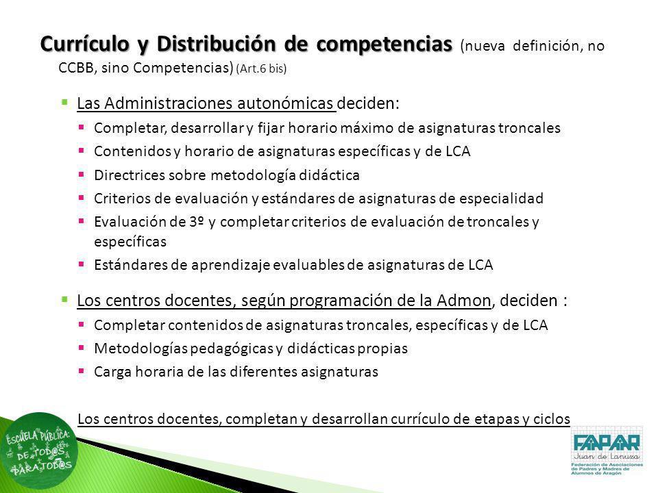 Currículoy Distribución de competencias Currículo y Distribución de competencias (nueva definición, no CCBB, sino Competencias) (Art.6 bis) Las Admini
