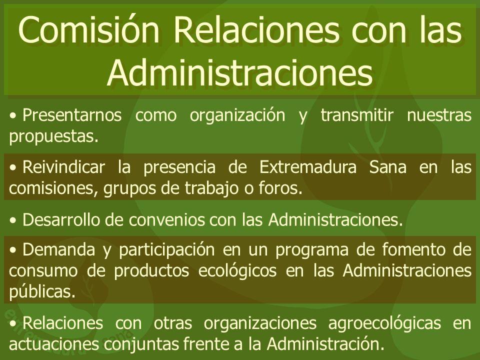 Comisión Relaciones con las Administraciones Presentarnos como organización y transmitir nuestras propuestas. Reivindicar la presencia de Extremadura