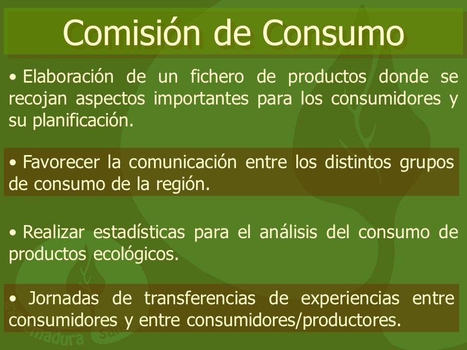 Comisión de Consumo Elaboración de un fichero de productos donde se recojan aspectos importantes para los consumidores y su planificación. Favorecer l