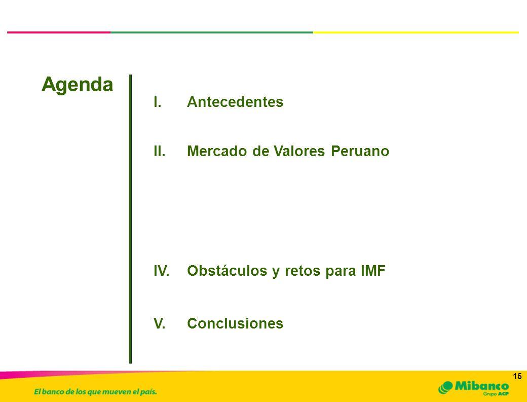 15 I.Antecedentes Agenda a.Inversionistas y Emisores III.Mibanco: Nuestra Misión y el Mercado de Capitales II.Mercado de Valores Peruano IV.Obstáculos