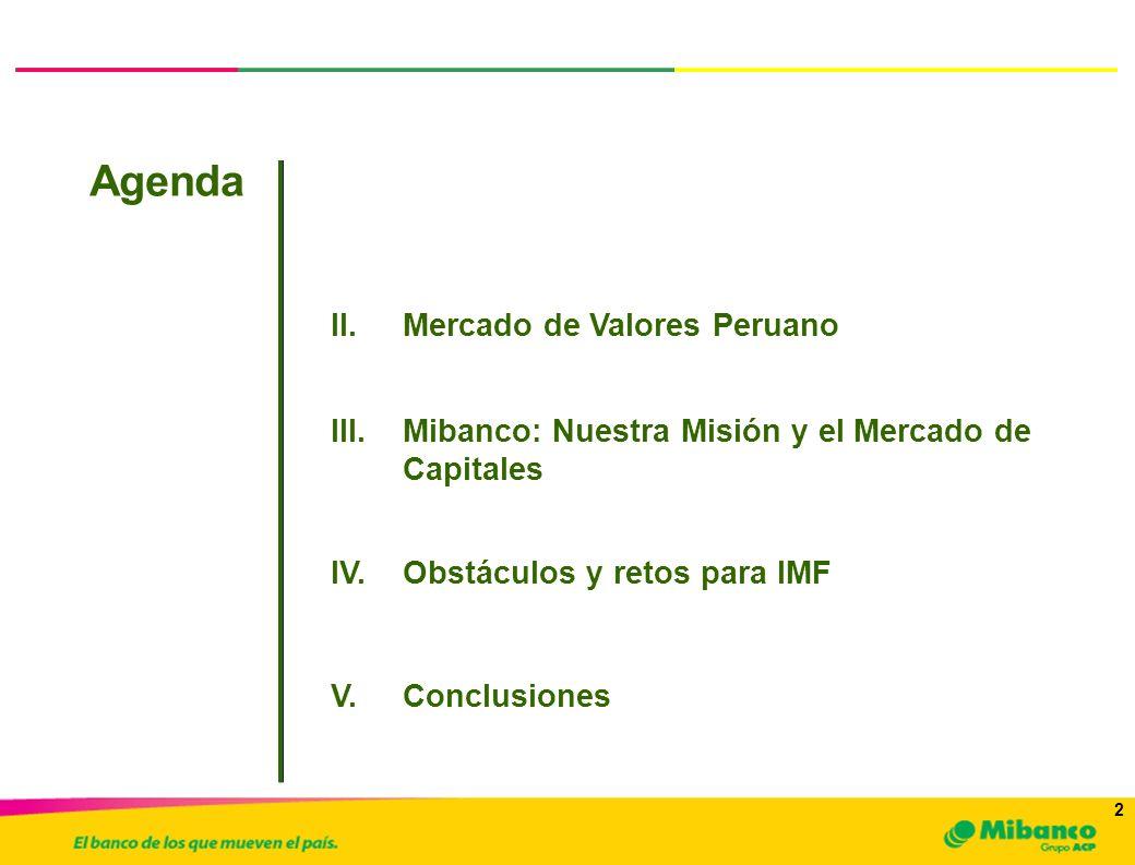 2 2 I.Antecedentes Agenda a.Inversionistas y Emisores III.Mibanco: Nuestra Misión y el Mercado de Capitales II.Mercado de Valores Peruano IV.Obstáculo