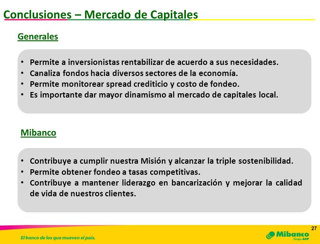 27 Conclusiones – Mercado de Capitales Permite a inversionistas rentabilizar de acuerdo a sus necesidades. Canaliza fondos hacia diversos sectores de