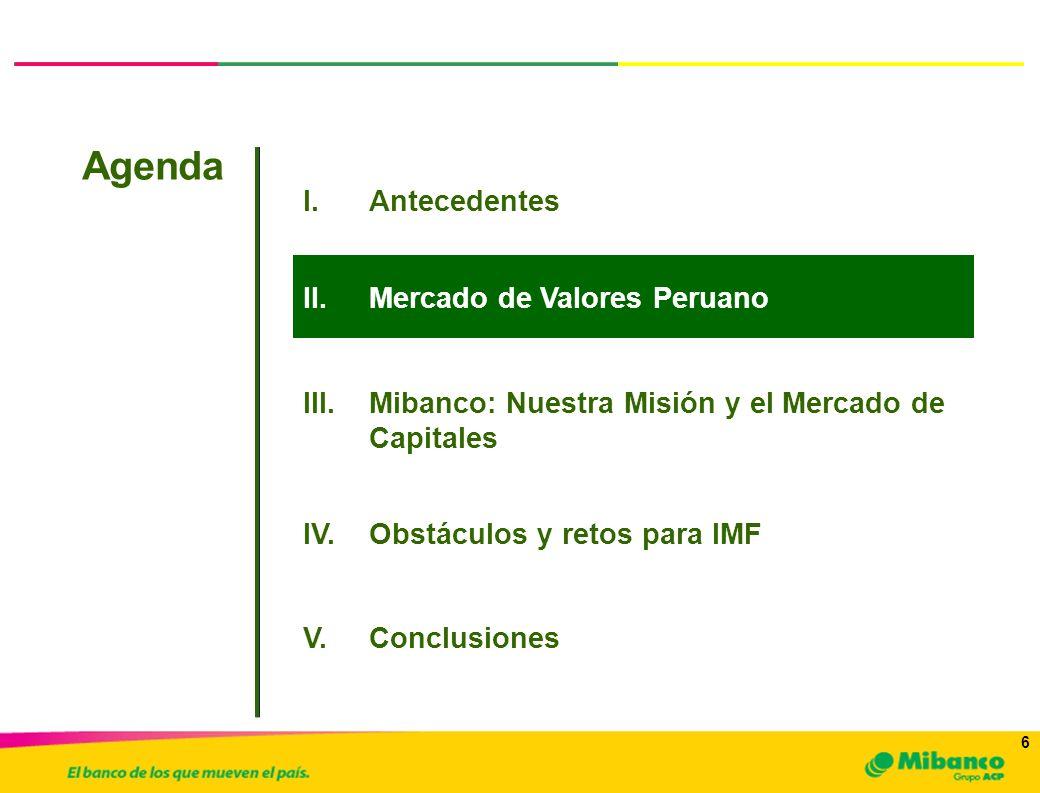 6 6 I.Antecedentes Agenda a.Inversionistas y Emisores III.Mibanco: Nuestra Misión y el Mercado de Capitales II.Mercado de Valores Peruano IV.Obstáculo
