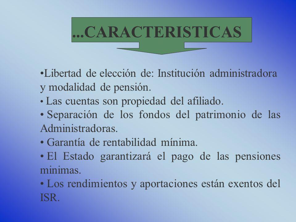 Libertad de elección de: Institución administradora y modalidad de pensión.