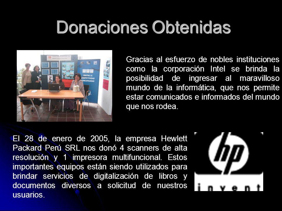 Donaciones Obtenidas Gracias al esfuerzo de nobles instituciones como la corporación Intel se brinda la posibilidad de ingresar al maravilloso mundo d