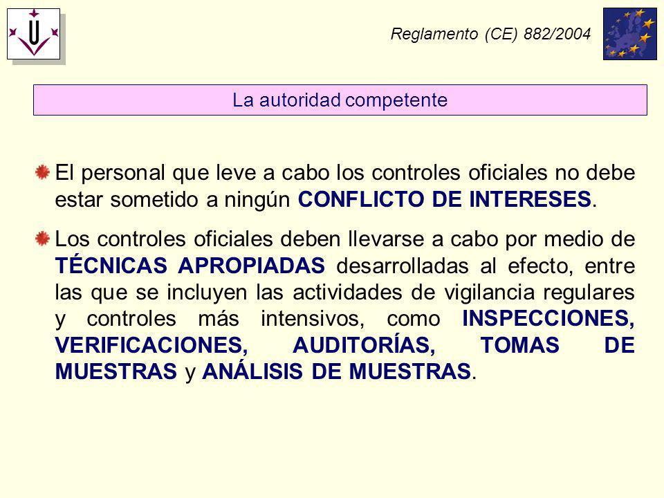 Reglamento (CE) 882/2004 El personal que leve a cabo los controles oficiales no debe estar sometido a ningún CONFLICTO DE INTERESES. Los controles ofi