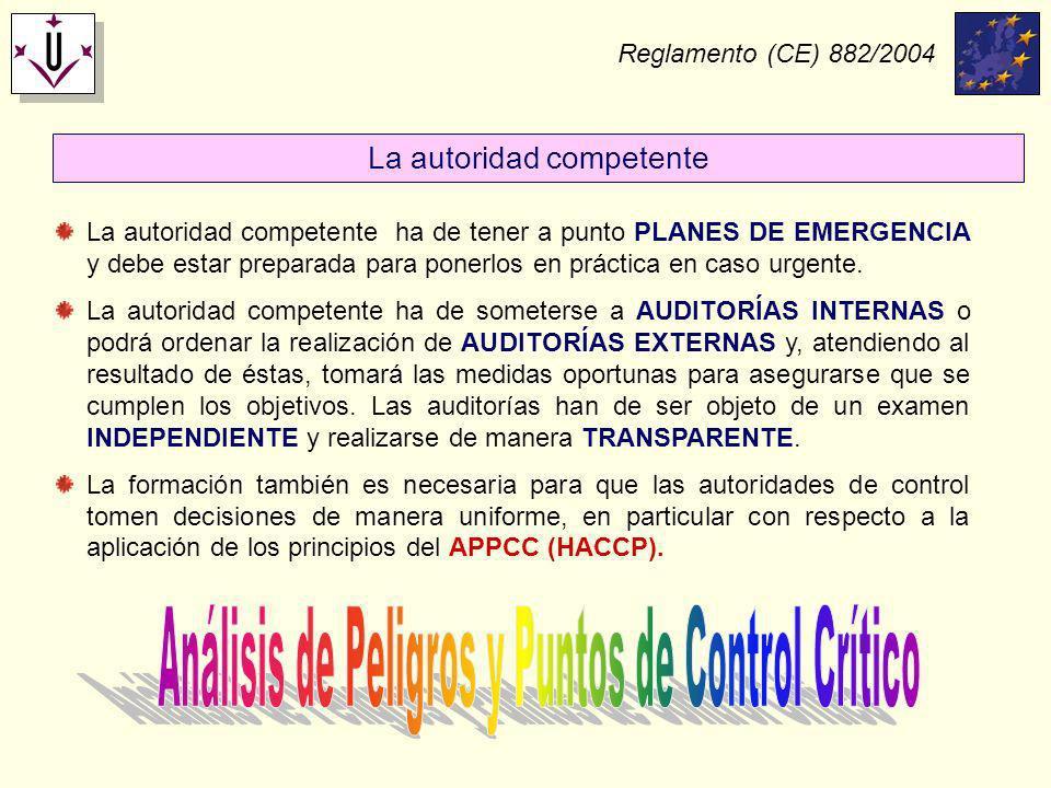 Reglamento (CE) 882/2004 La autoridad competente ha de tener a punto PLANES DE EMERGENCIA y debe estar preparada para ponerlos en práctica en caso urg