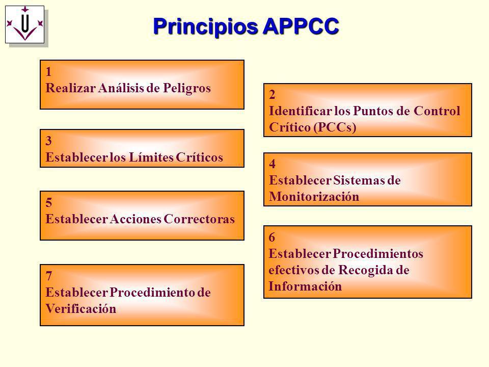 Principios APPCC 7 Establecer Procedimiento de Verificación 6 Establecer Procedimientos efectivos de Recogida de Información 5 Establecer Acciones Cor