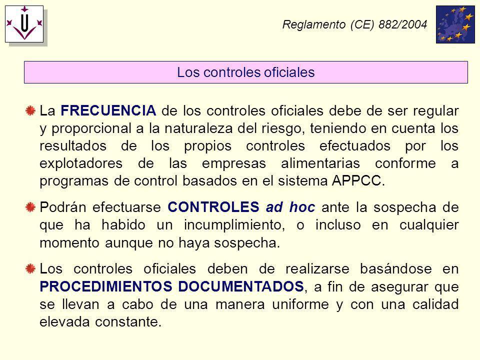 Reglamento (CE) 882/2004 La FRECUENCIA de los controles oficiales debe de ser regular y proporcional a la naturaleza del riesgo, teniendo en cuenta lo