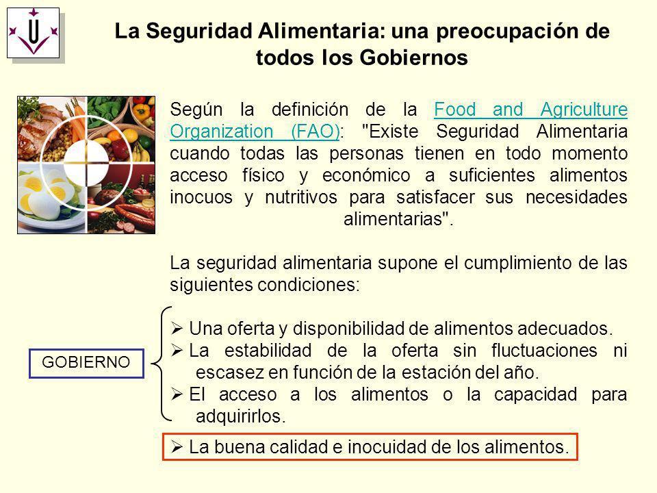 La Seguridad Alimentaria: una preocupación de todos los Gobiernos La seguridad alimentaria supone el cumplimiento de las siguientes condiciones: Una o