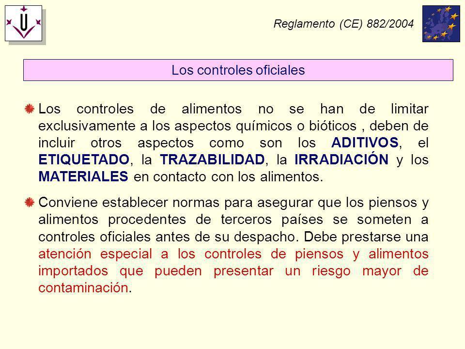 Reglamento (CE) 882/2004 Los controles de alimentos no se han de limitar exclusivamente a los aspectos químicos o bióticos, deben de incluir otros asp