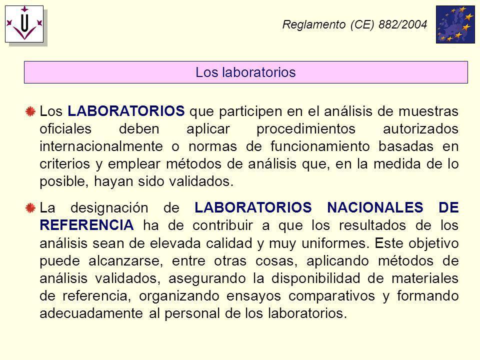 Reglamento (CE) 882/2004 Los LABORATORIOS que participen en el análisis de muestras oficiales deben aplicar procedimientos autorizados internacionalme