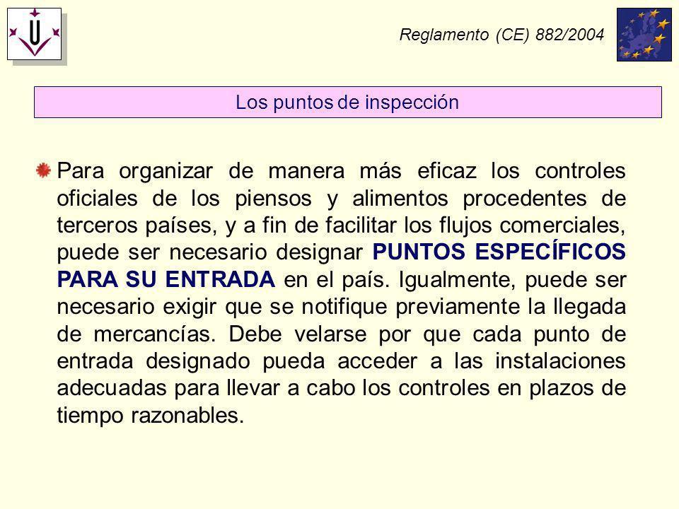 Reglamento (CE) 882/2004 Para organizar de manera más eficaz los controles oficiales de los piensos y alimentos procedentes de terceros países, y a fi