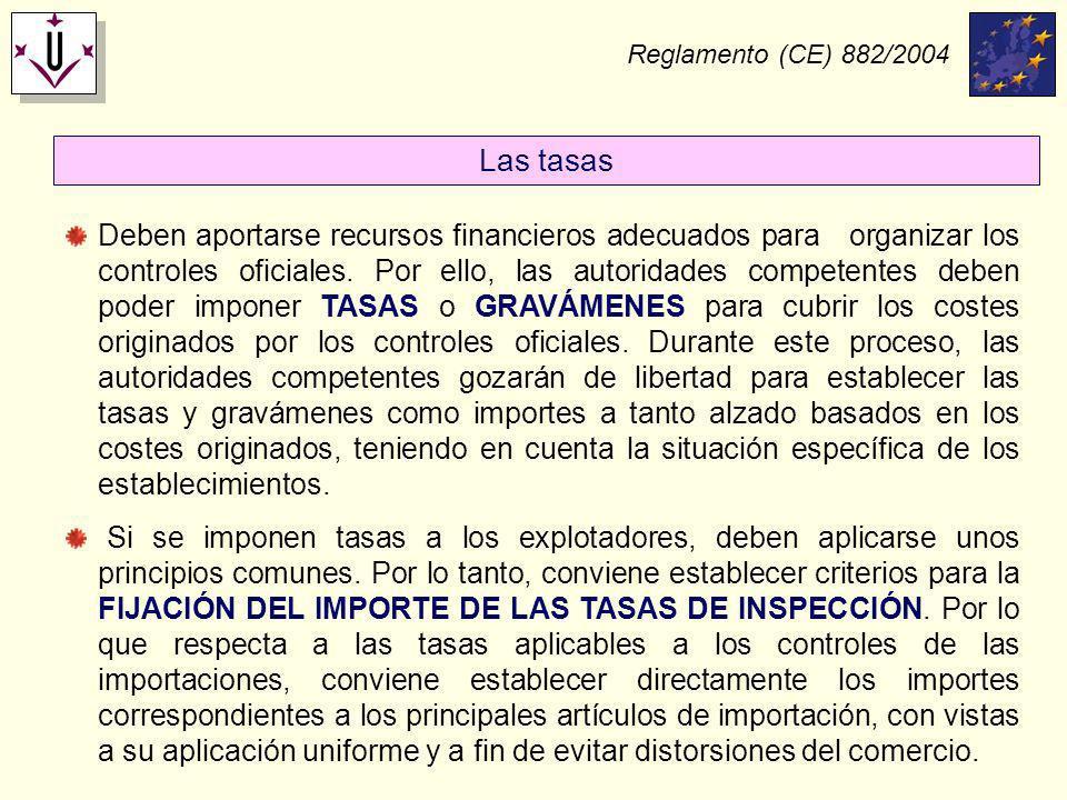 Reglamento (CE) 882/2004 Deben aportarse recursos financieros adecuados para organizar los controles oficiales. Por ello, las autoridades competentes