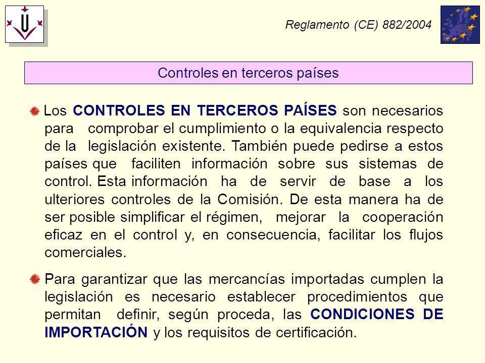 Reglamento (CE) 882/2004 Los CONTROLES EN TERCEROS PAÍSES son necesarios para comprobar el cumplimiento o la equivalencia respecto de la legislación e
