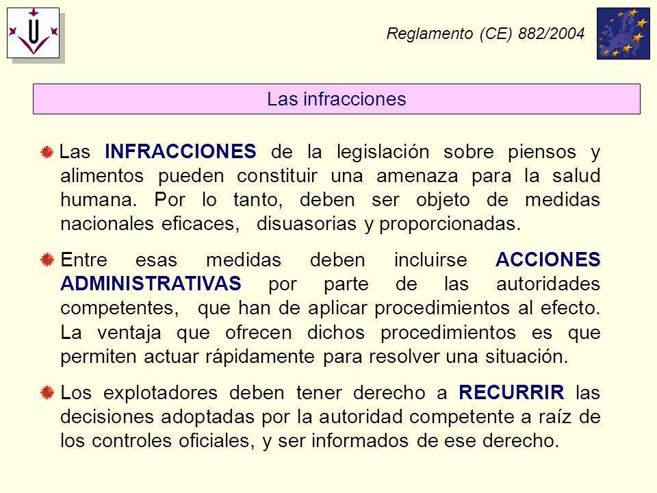 Reglamento (CE) 882/2004 Las INFRACCIONES de la legislación sobre piensos y alimentos pueden constituir una amenaza para la salud humana. Por lo tanto