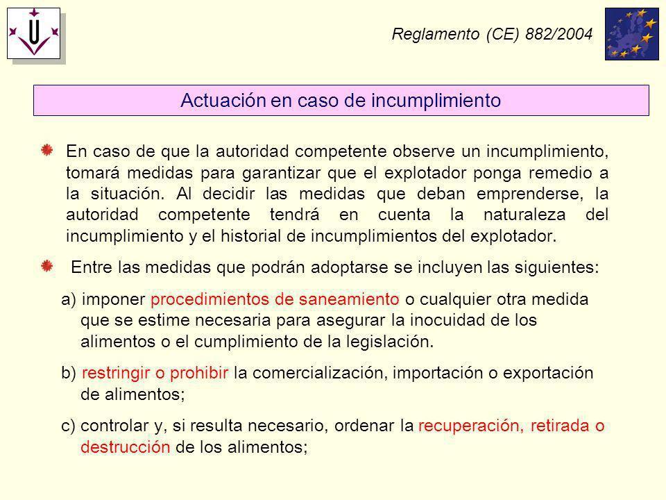 Reglamento (CE) 882/2004 En caso de que la autoridad competente observe un incumplimiento, tomará medidas para garantizar que el explotador ponga reme