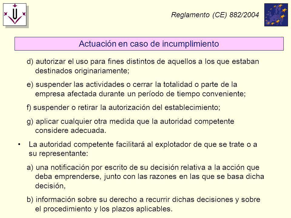 Reglamento (CE) 882/2004 d) autorizar el uso para fines distintos de aquellos a los que estaban destinados originariamente; e) suspender las actividad