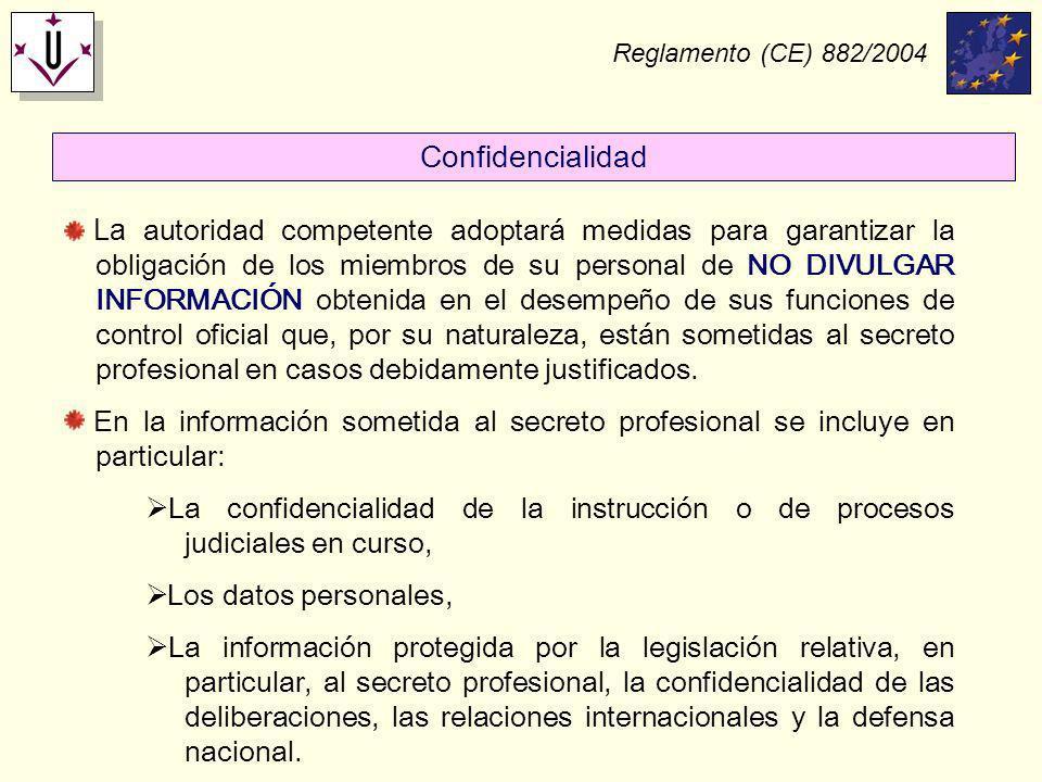 Reglamento (CE) 882/2004 La autoridad competente adoptará medidas para garantizar la obligación de los miembros de su personal de NO DIVULGAR INFORMAC