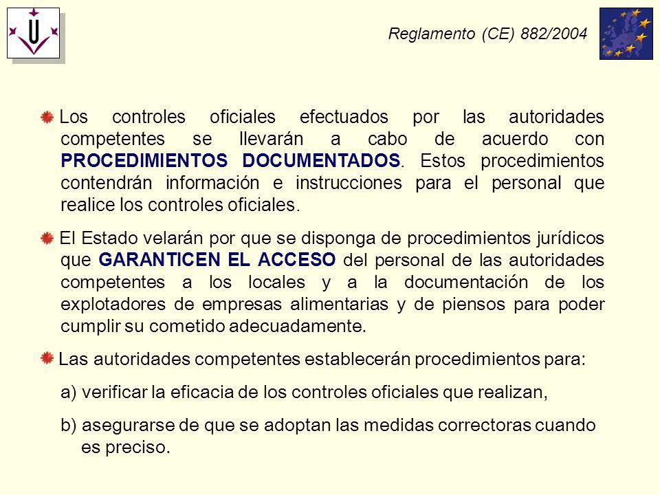 Reglamento (CE) 882/2004 Los controles oficiales efectuados por las autoridades competentes se llevarán a cabo de acuerdo con PROCEDIMIENTOS DOCUMENTA
