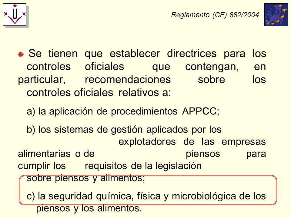 Reglamento (CE) 882/2004 Se tienen que establecer directrices para los controles oficiales que contengan, en particular, recomendaciones sobre los con
