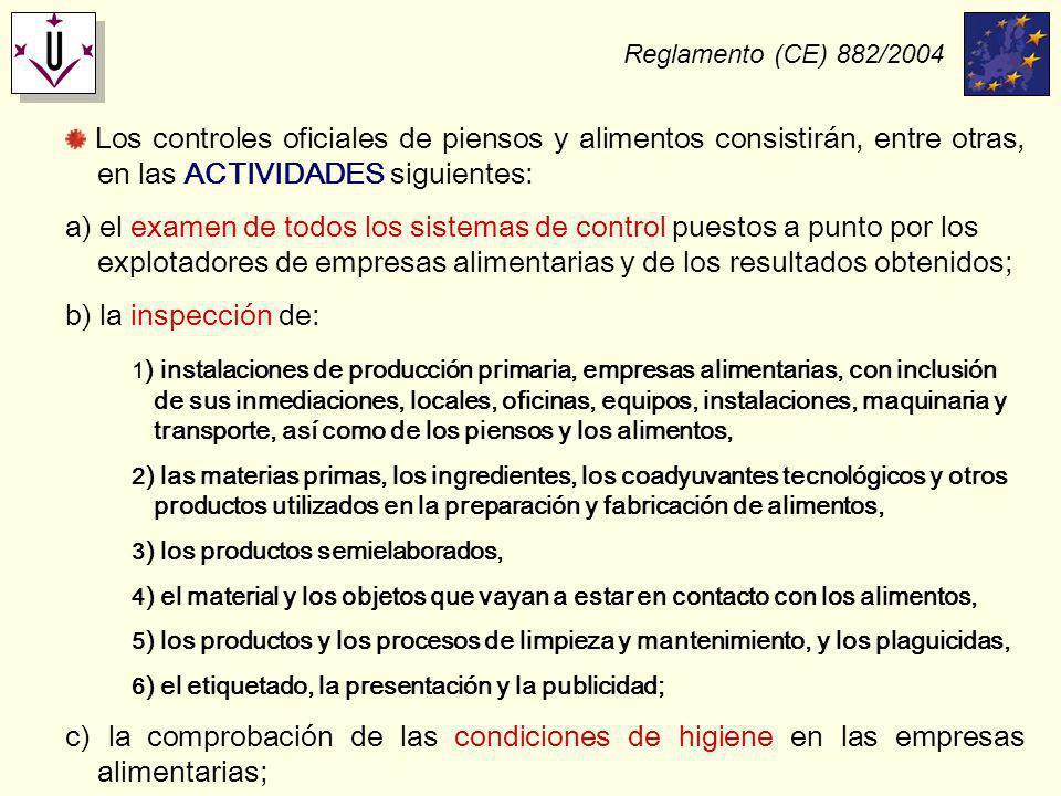 Reglamento (CE) 882/2004 Los controles oficiales de piensos y alimentos consistirán, entre otras, en las ACTIVIDADES siguientes: a) el examen de todos