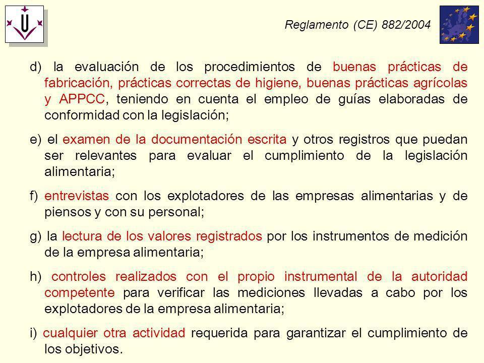 Reglamento (CE) 882/2004 d) la evaluación de los procedimientos de buenas prácticas de fabricación, prácticas correctas de higiene, buenas prácticas a