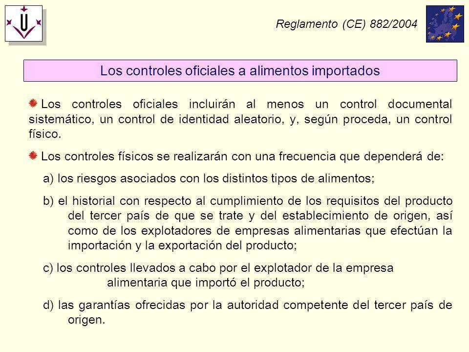 Reglamento (CE) 882/2004 Los controles oficiales incluirán al menos un control documental sistemático, un control de identidad aleatorio, y, según pro